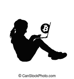 child silhouette with cryptocurrency illustration