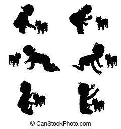 child silhouette with dog silhouette illustration in black