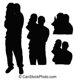 child silhouette with father in black color illustration