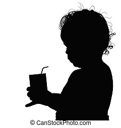 child silhouette with glass illustration in black