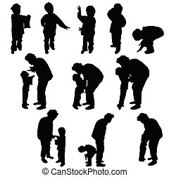child silhouette with grandmother illustration