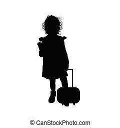 child silhouette with little travel bag illustration