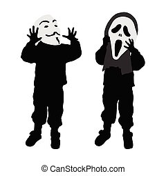 child silhouette with mask in black color illustration