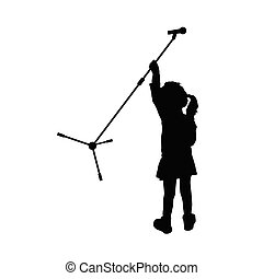 child silhouette with microphone illustration