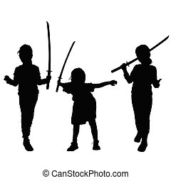 child silhouette with sword in hand illustration
