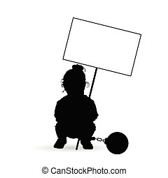 child silhouette with transparent and prision ball illustration