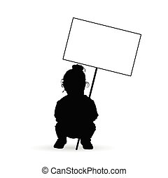 child silhouette with transparent illustration in black