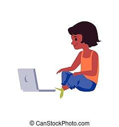 Child sitting cross legged with laptop, flat vector ...