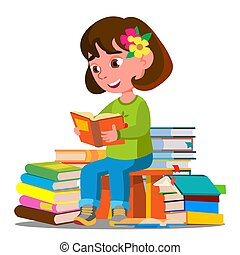 Child Sitting With A Lot Of Books In The Library Vector. Isolated Illustration