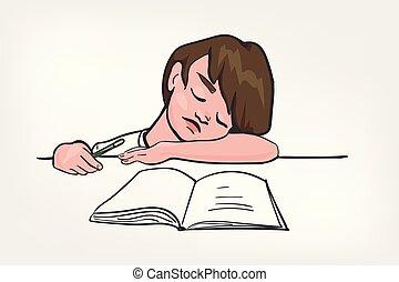 child sleep doing study vector illustration clip art