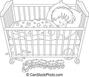 Child sleeping - Little boy sleeps in his bed in a kids...