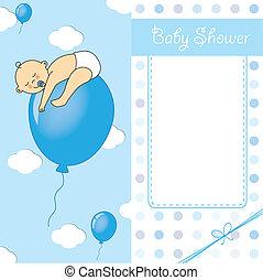 Child sleeping on top of a balloon