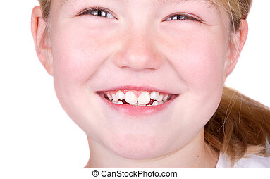 Child smiling close up of mouth