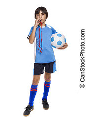 child soccer judge isolated on white background - child...