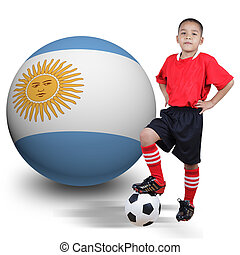 Child soccer player with Argentina ball