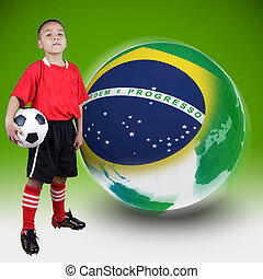 Child soccer player with Brazil ball