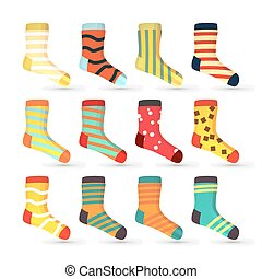 Child Socks Icons Vector. Big Set In Flat Style Illustration. Winter Fashion Sock Fabric Design.