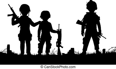 Child soldiers - Editable vector silhouettes of three...