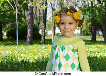 child spring scene