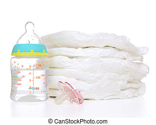 child stack of diapers nipple soother feeding milk bottle with w