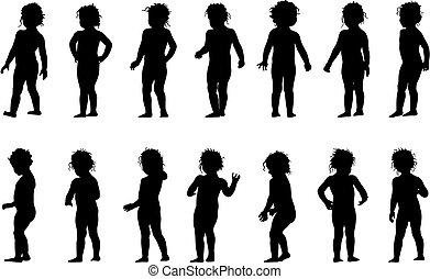 Child standing - child standing, black silhouettes, fourteen...