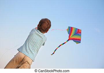 Child starting kite