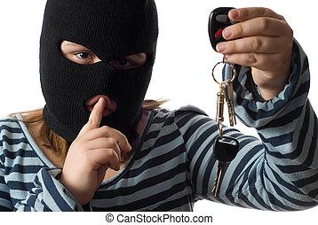 Child Stealing Car Keys - Closeup view of a child stealing ...