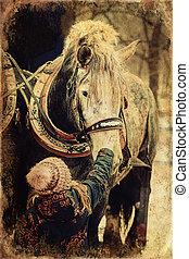 child stroking work horse, old photo effect. - child ...