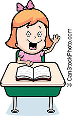 Child Student - A happy cartoon child student at a desk in...