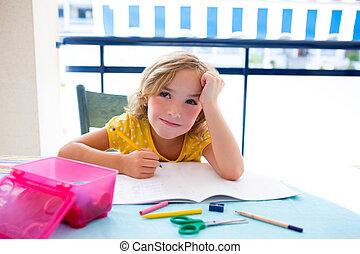 Child student kid girl bored with homework on desk