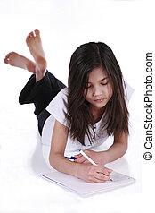 Child studying or writing