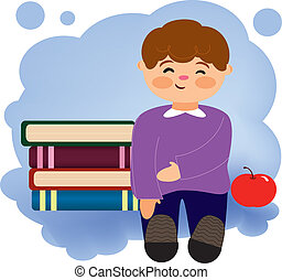 child studying - Is a EPS 10 Illustrator file without...