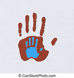 child., sur, adulte, hands., portion, greeting., vecteur, soin, illustration.