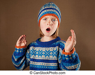 child sweater angy hat boy