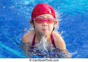 Child Swimming Breaststroke in Swimming Pool