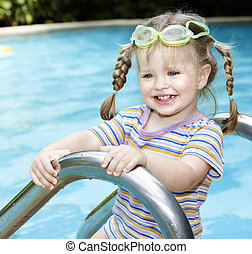 Child swimming in pool.