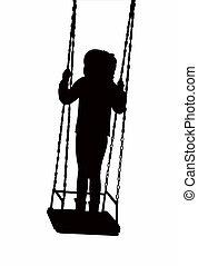 child swinging body silhouette vector