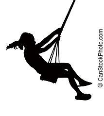 child swinging, silhouette
