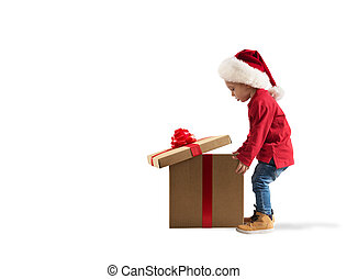 Child that open a magic Christmas gift. White background