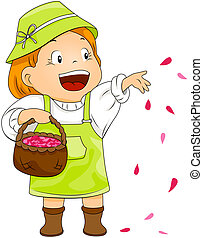 Child throwing Petals - Child throwing petals with Clipping...