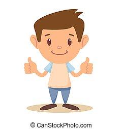 Child thumbs up, vector illustration