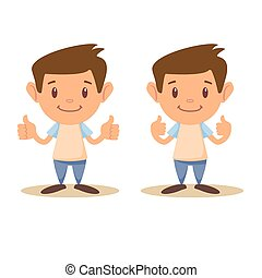 Child thumbs up, vector illustration