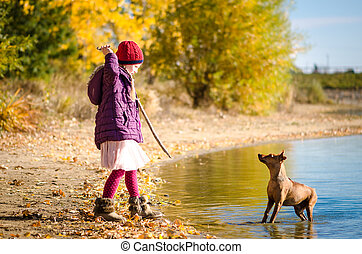 child training dog in water