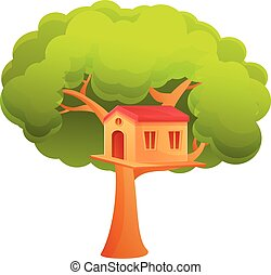 Child treehouse icon, cartoon style - Child treehouse icon. ...