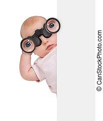 Child Using Binocular Hiding Behind Banner
