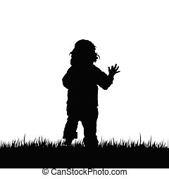 child vector in nature illustration