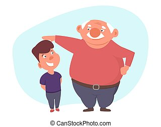 Father stroked hos son head or measure his height.