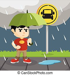 child waiting bus in rain