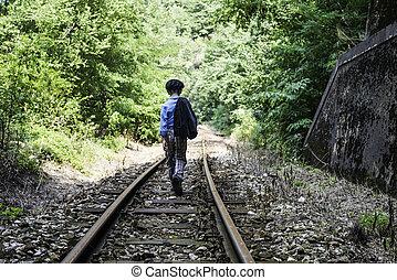 Child walking on railway
