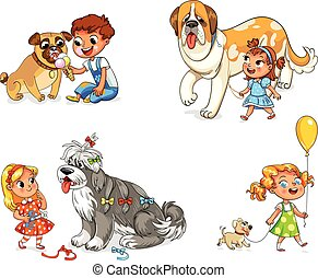 Child walking with dog